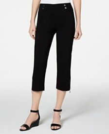 JM Collection Petite Cropped Zipper-Trim Pants, Created for Macy's