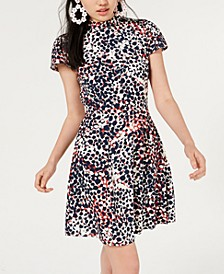Juniors' Printed Mock-Neck Dress