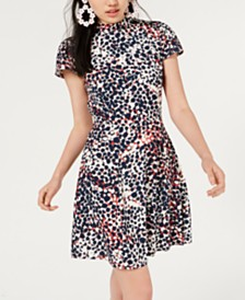 City Studios Juniors' Printed Mock-Neck Dress