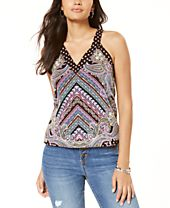 INC Button V-Neck Tank Top, Created for Macy's