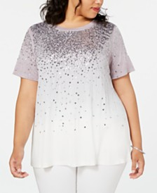 I.N.C. Plus Size Sequin Ombre Top