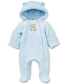 Baby Boys Faux Fur Hood Quilted Coverall