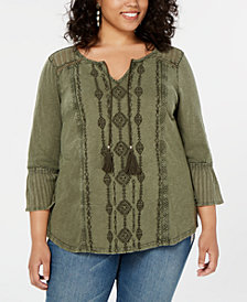 Style & Co Cotton Plus Size Embroidered Top, Created for Macy's