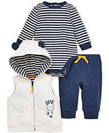 Baby Boys 3-Pc. Cotton Giraffe Vest, Bodysuit & Jogger Pants Set