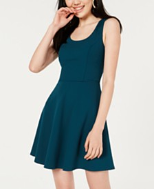 BCX Juniors' Buckle-Back Skater Dress