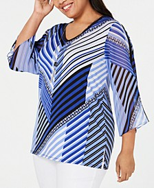 Plus Size Printed Chiffon-Sleeve Necklace Top, Created for Macy's