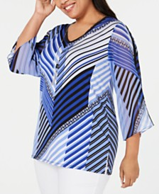 JM Collection Plus Size Printed Chiffon-Sleeve Necklace Top, Created for Macy's