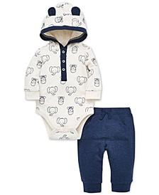 Baby Boys 2-Pc. Cotton French Terry Bodysuit & Jogger Pants Set