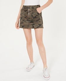 Rewash Juniors' Camo-Print Utility Mini Skirt