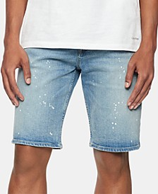 Men's Straight-Fit Stretch Paint-Splatter Denim Shorts