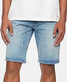 Calvin Klein Jeans Men's Straight-Fit Stretch Paint-Splatter Denim Shorts