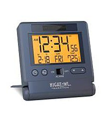 Atomic Travel Alarm Clock With Auto Back Light Feature, Calendar and Temperature