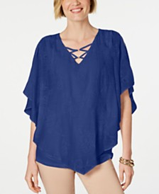 JM Collection Embroidered Gauze Poncho Top, Created for Macy's