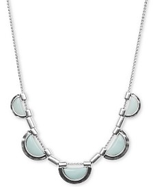 "Lucky Brand Silver-Tone Stone Half-Circle 28"" Collar Necklace"