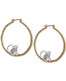 "Lucky Brand Medium Two-Tone Monkey Hoop Earrings, 1-3/4"""
