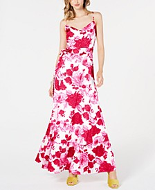 Belted Floral-Print Maxi Dress