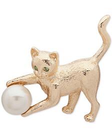 Anne Klein Gold-Tone Pavé & Imitation Pearl Cat Pin
