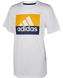 adidas Big Boys Colorblocked Logo-Print Cotton T-Shirt