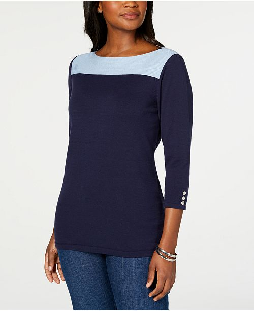 Karen Scott Cotton Colorblocked Sweater, Created for Macy's