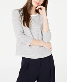 Maison Jules Striped 3/4-Sleeve Shirt, Created for Macy's