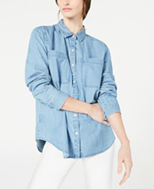 Eileen Fisher Organic Cotton Button-Down Shirt