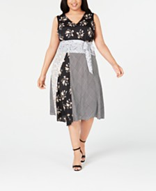 Calvin Klein Plus Size Mixed-Print Fit & Flare Dress