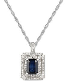 "Sapphire (1 ct. t.w.) & Diamond (1/3 ct. t.w.) 18"" Pendant Necklace in 14k White Gold (Also Available in Emerald)"