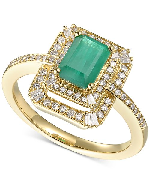 Macy's Emerald (9/10 ct. t.w.) & Diamond (1/3 ct. t.w.) Statement Ring in 14k Gold