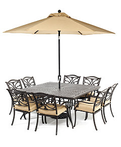 Kingsley Outdoor Cast Aluminum 9 Pc Dining Set 64 Square Dining Table And 8 Dining Chairs Created For Macy S