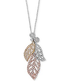 """EFFY® Diamond Tri-Color Leaf 18"""" Pendant Necklace (5/8 ct. t.w.) in 14k White Gold, 14k Rose Gold and 14k Gold"""