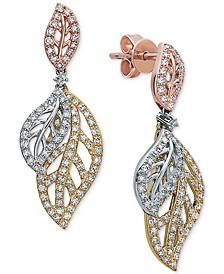 EFFY® Diamond Tri-Color Leaf Drop Earrings (5/8 ct. t.w.) in 14k Gold, 14k White Gold and 14k Rose Gold