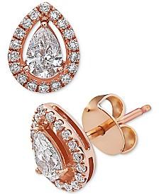 EFFY® Diamond Halo Stud Earrings (7/8 ct. t.w.) in 14k Rose Gold