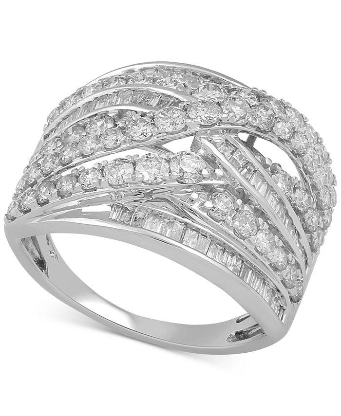 Macy's - Diamond Crisscross Statement Ring (2 ct. t.w.) in 14k White Gold