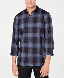 A|X Armani Exchange Men's Contrast Plaid Shirt