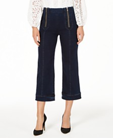 Nanette Lepore Cropped Zip-Front Jeans, Created for Macy's