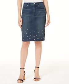 I.N.C. Embellished Denim Skirt, Created for Macy's