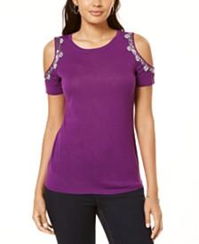 I.N.C. Embellished Cold-Shoulder Top, Created for Macy's
