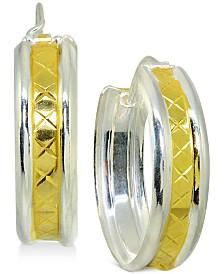 Hoop Earrings in 18k Gold-Plate Over Sterling Silver & Sterling Silver