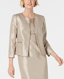 Kasper Beaded Open-Front Jacket