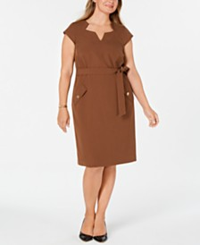 Kasper Plus Size Belted Dress