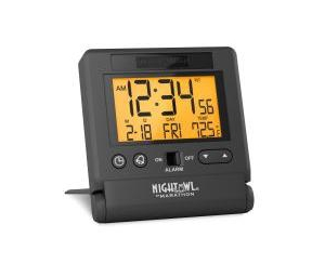 Marathon Atomic Travel Alarm Clock With Auto Back Light Feature, Calendar and Temperature