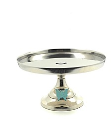 "Cake Stand with Turquoise Butterfly 10"" Cake Holder"