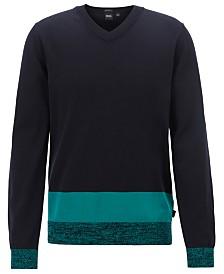 BOSS Men's Jastor V-Neck Colorblocked Italian Cotton Sweater