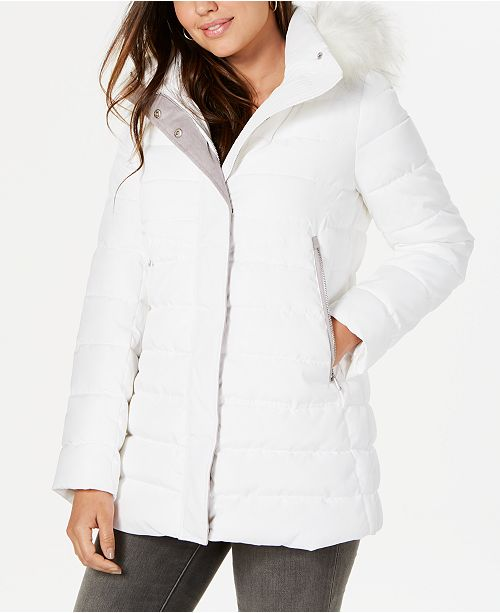 INC International Concepts INC Faux-Fur-Trim Hooded Puffer Coat, Created for Macy's