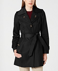 Hooded Double Collar Belted Raincoat, Created for Macy's