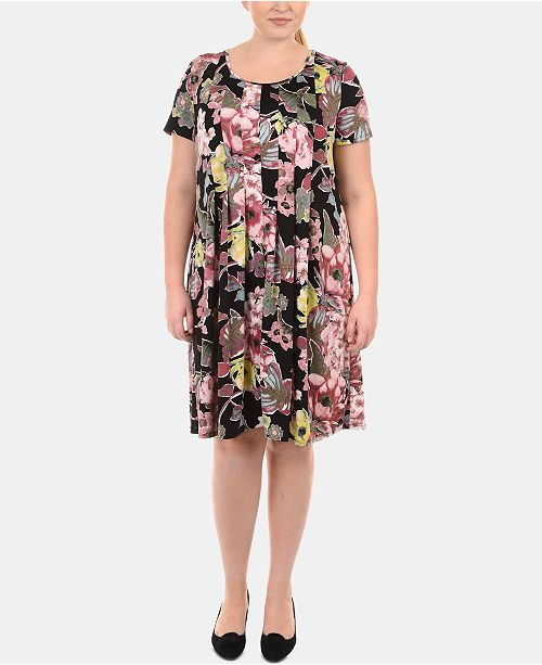 NY Collection Plus Size Pleated Babydoll Dress