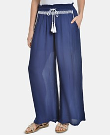 NY Collection Petite Tassel-Tie Wide-Leg Pants