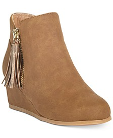 Little and Big Girls Wedge Tan Booties