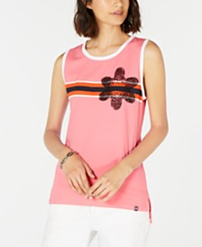 Tommy Hilfiger Beaded Flower Tank Top, Created for Macy's