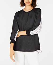 Tommy Hilfiger Striped-Back Logo Top, Created for Macy's